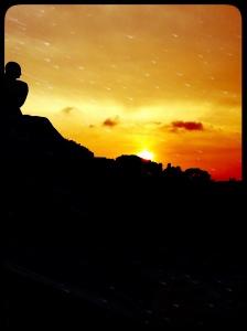 Puesta de sol desde el MNAC